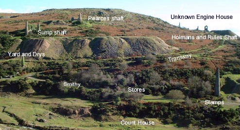 An annotated view of South Caradon Mine