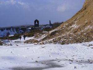 Looking towards Holman;s and Rule's shafts in the snow