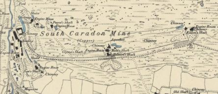 South Caradon Mine shown on the 1886 OS map