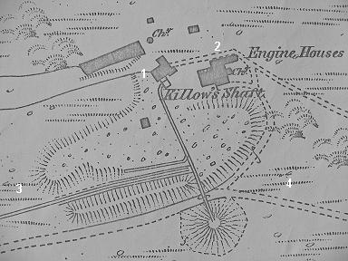 Annotated OS 1883 map of Kitto's Shaft