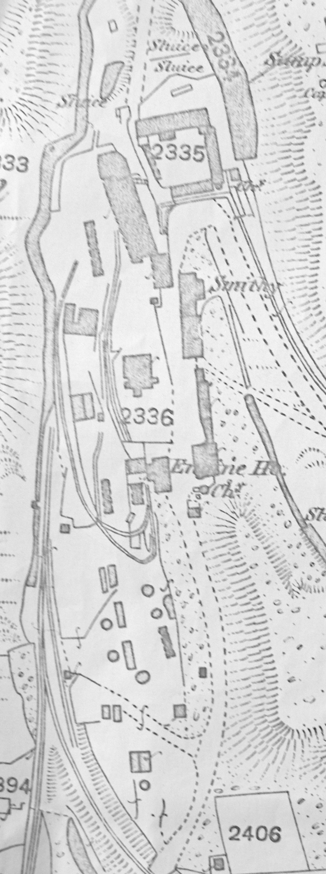 An extract from the OS 1885 map showing the Caradon Mine dressing floor