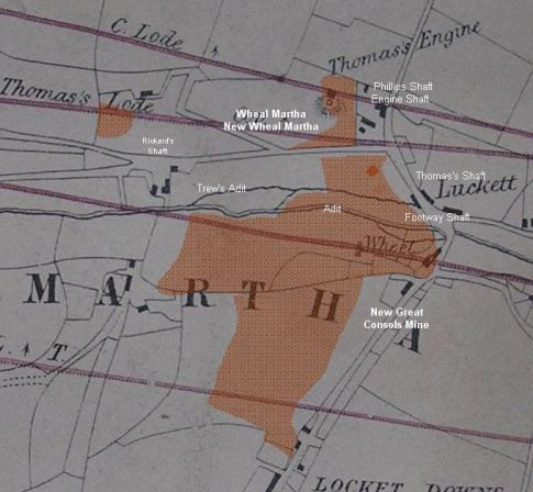 Extract of 1848 map with New Consols overlay